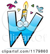 Cartoon Of A Blue Letter W Birthday Candle Mascot Royalty Free Vector Clipart by Cory Thoman