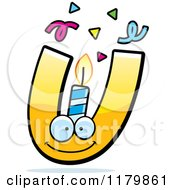 Cartoon Of A Yellow Letter U Birthday Candle Mascot Royalty Free Vector Clipart by Cory Thoman