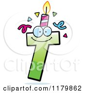 Cartoon Of A Green Letter T Birthday Candle Mascot Royalty Free Vector Clipart by Cory Thoman
