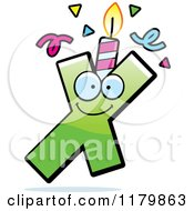 Cartoon Of A Green Letter X Birthday Candle Mascot Royalty Free Vector Clipart by Cory Thoman
