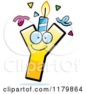 Cartoon Of A Yellow Letter Y Birthday Candle Mascot Royalty Free Vector Clipart by Cory Thoman