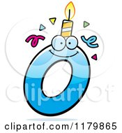 Cartoon Of A Blue Letter O Birthday Candle Mascot Royalty Free Vector Clipart