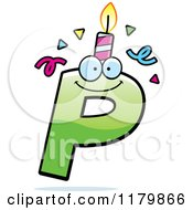Cartoon Of A Green Letter P Birthday Candle Mascot Royalty Free Vector Clipart by Cory Thoman