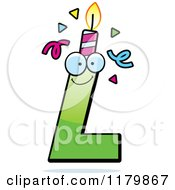 Cartoon Of A Green Letter L Birthday Candle Mascot Royalty Free Vector Clipart by Cory Thoman