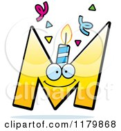 Cartoon Of A Yellow Letter M Birthday Candle Mascot Royalty Free Vector Clipart by Cory Thoman