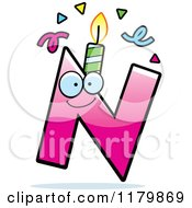 Cartoon Of A Pink Letter N Birthday Candle Mascot Royalty Free Vector Clipart by Cory Thoman