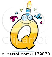 Cartoon Of A Yellow Letter Q Birthday Candle Mascot Royalty Free Vector Clipart by Cory Thoman