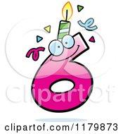 Cartoon Of A Pink Six Birthday Candle Mascot Royalty Free Vector Clipart by Cory Thoman