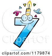 Cartoon Of A Blue Seven Birthday Candle Mascot Royalty Free Vector Clipart by Cory Thoman