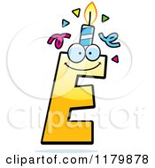 Cartoon Of A Yellow Letter E Birthday Candle Mascot Royalty Free Vector Clipart by Cory Thoman