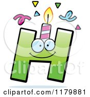 Cartoon Of A Green Letter H Birthday Candle Mascot Royalty Free Vector Clipart