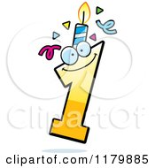 Cartoon Of A Yellow One Birthday Candle Mascot Royalty Free Vector Clipart