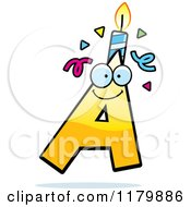 Cartoon Of A Yellow Letter A Birthday Candle Mascot Royalty Free Vector Clipart