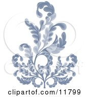 Ornate Blue Branches Clipart Illustration