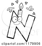 Cartoon Of A Black And White Letter N Birthday Candle Mascot Royalty Free Vector Clipart