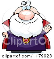 Cartoon Of A Waving Chubby Wizard Royalty Free Vector Clipart