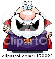 Cartoon Of A Smart Chubby Wizard With An Idea Royalty Free Vector Clipart