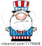 Cartoon Of A Worried Chubby Uncle Sam Royalty Free Vector Clipart