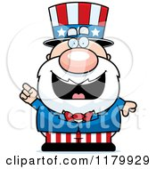 Cartoon Of A Smart Chubby Uncle Sam With An Idea Royalty Free Vector Clipart