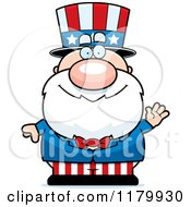 Cartoon Of A Waving Chubby Uncle Sam Royalty Free Vector Clipart by Cory Thoman