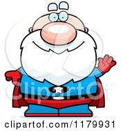 Cartoon Of A Waving Chubby Senior Super Man Royalty Free Vector Clipart by Cory Thoman