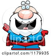 Cartoon Of A Smart Chubby Senior Super Man With An Idea Royalty Free Vector Clipart