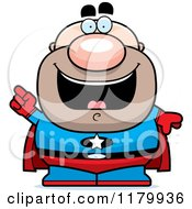 Cartoon Of A Smart Chubby Super Man With An Idea Royalty Free Vector Clipart
