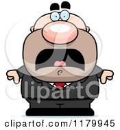 Cartoon Of A Scared Chubby Businessman Royalty Free Vector Clipart