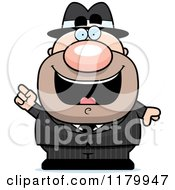 Cartoon Of A Smart Chubby Mobster With An Idea Royalty Free Vector Clipart by Cory Thoman