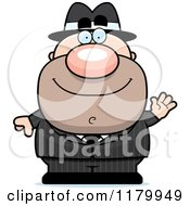 Cartoon Of A Waving Chubby Mobster Royalty Free Vector Clipart