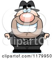 Cartoon Of A Grinning Chubby Mobster Royalty Free Vector Clipart