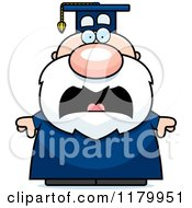 Cartoon Of A Scared Chubby Professor In A Graduation Gown Royalty Free Vector Clipart