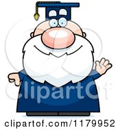 Cartoon Of A Waving Chubby Professor In A Graduation Gown Royalty Free Vector Clipart