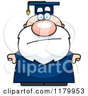 Cartoon Of A Bored Chubby Professor In A Graduation Gown Royalty Free Vector Clipart