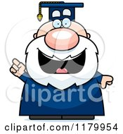 Cartoon Of A Smart Chubby Professor In A Graduation Gown With An Idea Royalty Free Vector Clipart