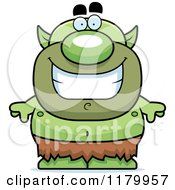 Cartoon Of A Grinning Chubby Goblin Royalty Free Vector Clipart