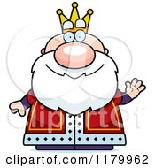 Cartoon Of A Waving Chubby King Royalty Free Vector Clipart by Cory Thoman