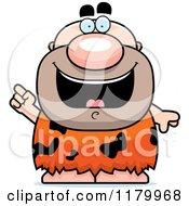 Cartoon Of A Smart Chubby Caveman With An Idea Royalty Free Vector Clipart