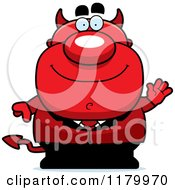 Cartoon Of A Waving Chubby Devil Royalty Free Vector Clipart by Cory Thoman