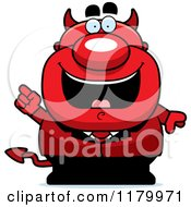 Cartoon Of A Smart Chubby Devil With An Idea Royalty Free Vector Clipart