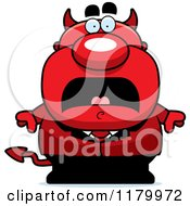 Cartoon Of A Scared Chubby Devil Royalty Free Vector Clipart