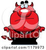 Cartoon Of A Bored Chubby Devil Royalty Free Vector Clipart