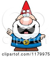 Cartoon Of A Smart Chubby Male Gnome With An Idea Royalty Free Vector Clipart by Cory Thoman