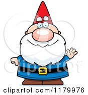 Cartoon Of A Waving Chubby Male Gnome Royalty Free Vector Clipart
