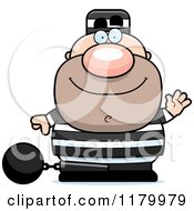 Cartoon Of A Waving Chubby Convict Royalty Free Vector Clipart