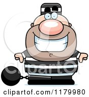 Cartoon Of A Grinning Chubby Convict Royalty Free Vector Clipart