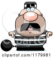 Cartoon Of A Scared Chubby Convict Royalty Free Vector Clipart