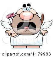 Cartoon Of A Scared Chubby Cupid Royalty Free Vector Clipart