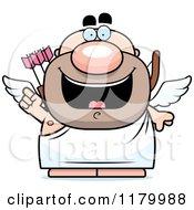 Cartoon Of A Smart Chubby Cupid With An Idea Royalty Free Vector Clipart