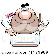 Cartoon Of A Waving Chubby Cupid Royalty Free Vector Clipart by Cory Thoman